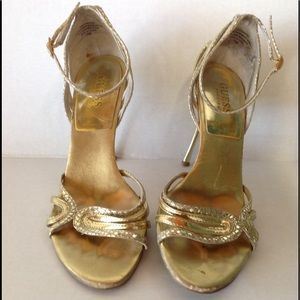 Guess Gold Strappy Heels